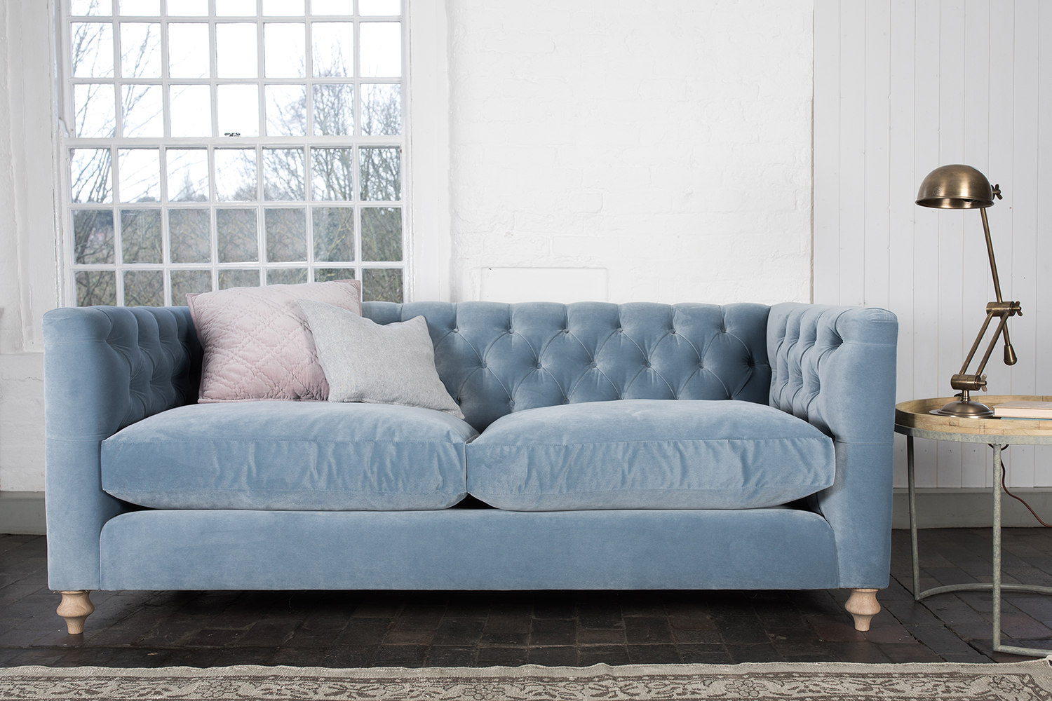 Blue Velvet Chesterfield Sofa