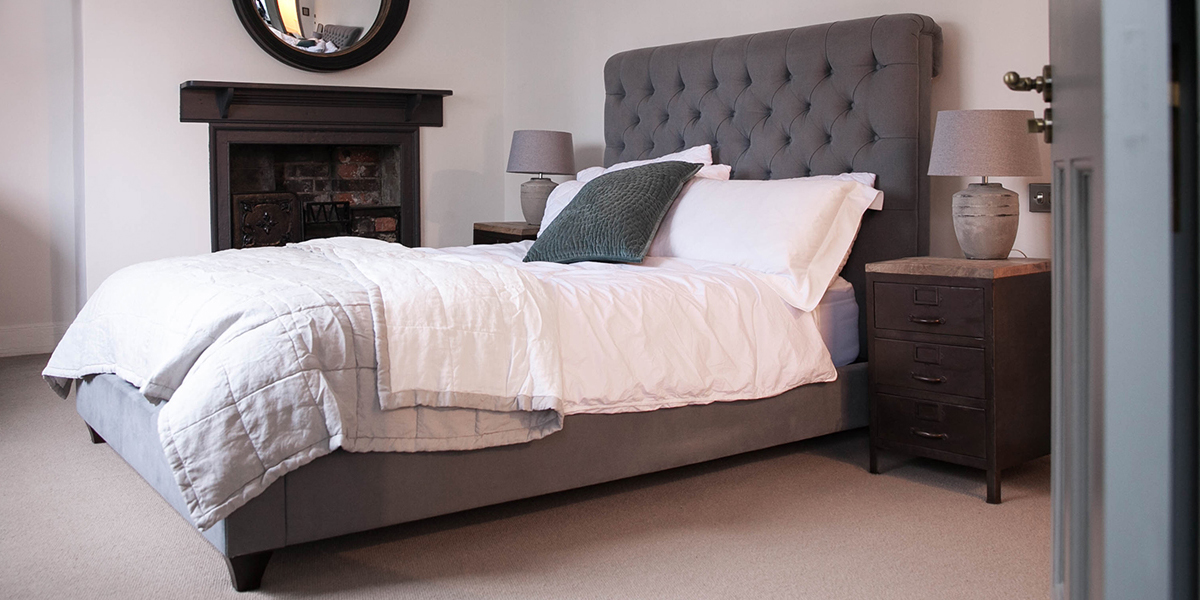 Buttoned Grey Linen Bed