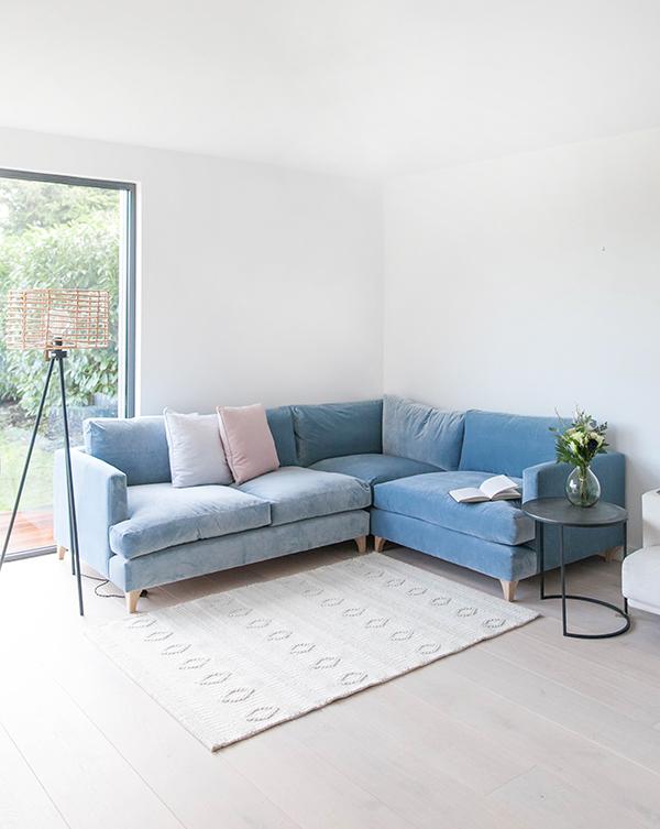 Blue velvet corner sofa
