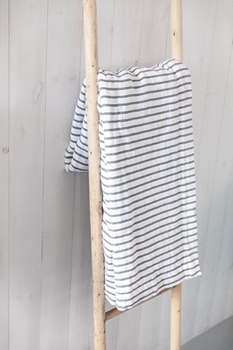 Grey and white striped throw